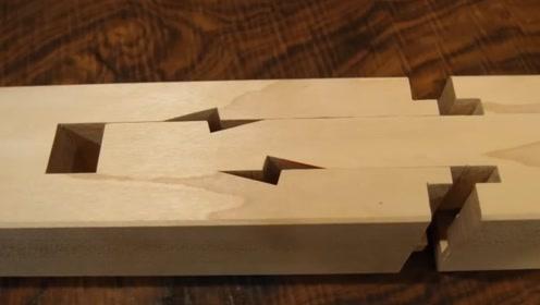 老师傅用木块打造一段榫卯结构,这技术鲁班再世也服了