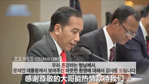 """韩·印尼首脑会谈 印尼总统直接管文在寅叫""""大哥"""""""