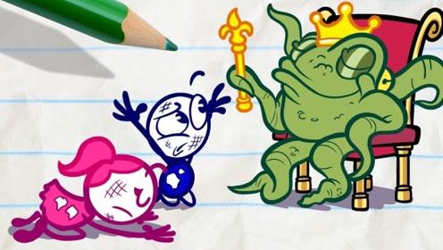 铅笔人的床下出现一个绿色的怪物,还把他抓了起来,这是怎么回事呢