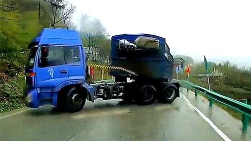 大货车失控正面袭来,视频车司机秀神操作,车身竟毫发未伤!