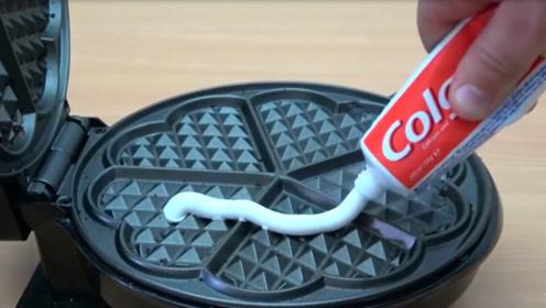 当牙膏遇到电饼铛会发生什么?外国小哥亲测,网友:还能刷牙吗
