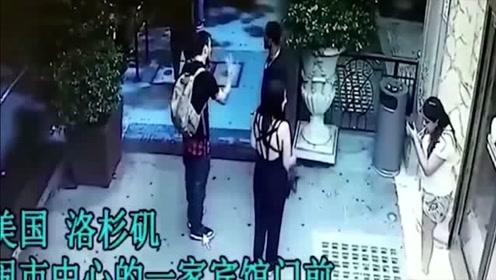 可怕!宾馆门口三男两女抽烟,根本想不到下一秒会发生什么!
