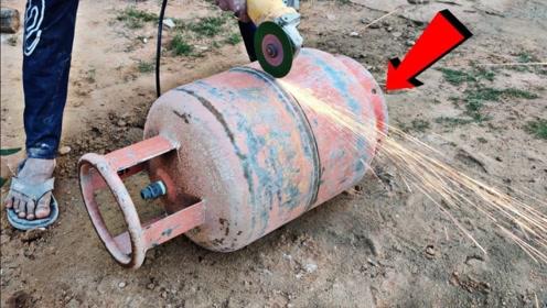 煤气罐内部究竟是什么样的?老外作死切开,结果太意外!
