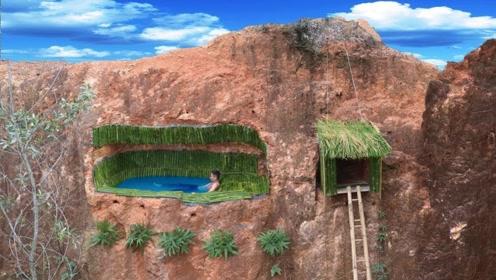 小伙掏空悬崖建造泳池豪宅,看到成品后,简直太惊艳了!