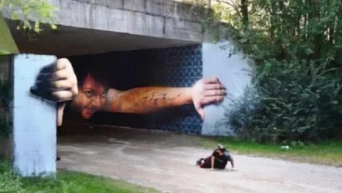 """3D绘画有多逼真?小伙在隧道画出""""巨人"""",看得路人提心吊胆"""