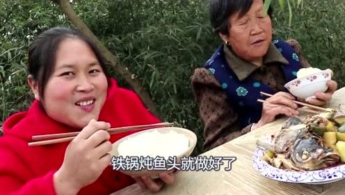 自家种的萝卜熟透了,胖妹4斤鱼头炖萝卜,汤汁太鲜了,奶奶摘了牙套吃上瘾