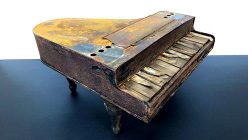 小哥意外捡到一架旧钢琴,对其翻新后,成品简直惊艳到我了!