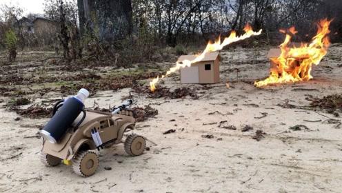 老外用纸板自制小汽车,既能遥控又能喷火,谁不想拥有一辆呢