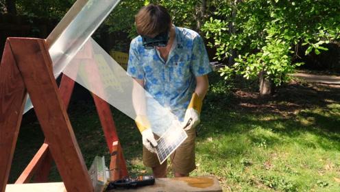 被菲涅尔透镜聚集的阳光有多可怕?玉米粒10秒钟内变爆米花!
