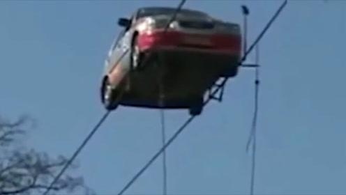 汽车也来走钢丝了,看得人心惊胆战,不服不行!