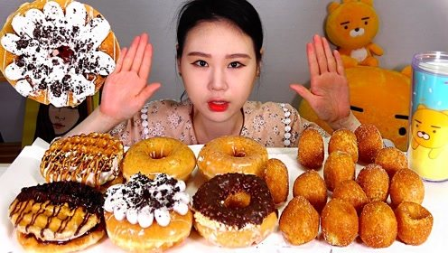 品尝甜点:吃美味甜甜圈 芝士球