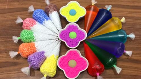 DIY史莱姆教程,裱花袋彩色小球混合彩色史莱姆、花朵粘土