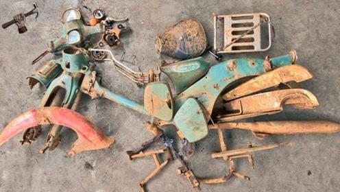 40年前的报废日本摩托车,牛人翻新后启动,声音太迷人!