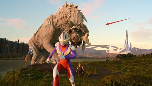 迪迦在湖边看到一头巨大怪兽,打不过,拍个照转头就溜走了!