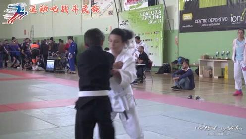 """柔道比赛前""""溜号"""",俄罗斯小男孩被女对手一脚撂倒"""