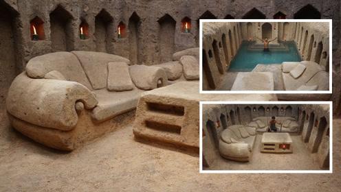厉害了!小哥仅用双手就建了一座,拥有沙发和泳池的地下房屋!