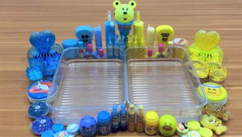 超治愈的颜色,蓝色黄色双色史莱姆,创意史莱姆教程