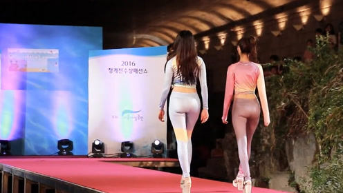 高挑韩模气质走秀,时尚印花的设计,尽显美模丰腴而多姿!