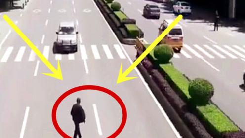 自作自受!大爷横穿马路慢悠悠,轿车怒上心头踩油门!