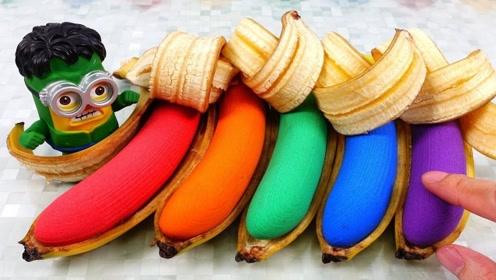 小伙用太空沙自制彩虹香蕉,制作过程很解压,网友:成品有点惊艳