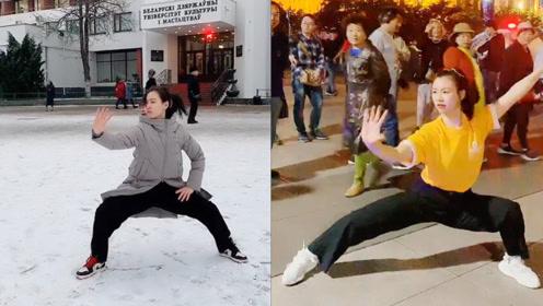 美女小姐姐街头表演传统太极拳,韵味十足,外国游客都看呆了!