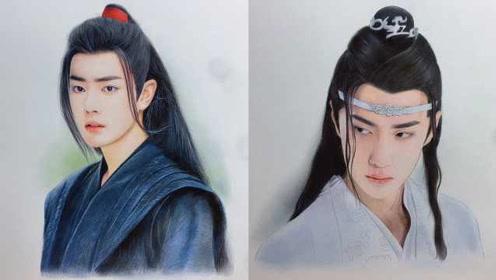 90后女生画古装肖战王一博,创作70副彩铅画回母校办个展