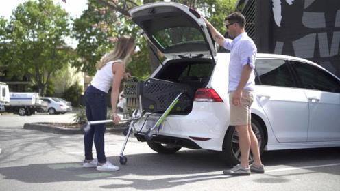 超便携购物车,能折叠塞进后备箱,从家到超市有它太方便