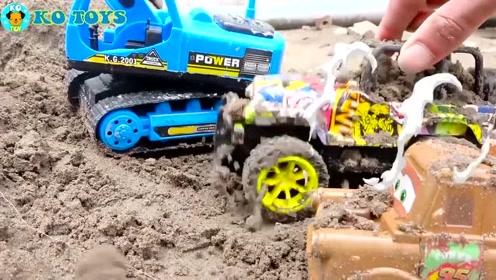 挖掘机,拖拉机,汽车和卡车运输玩具车