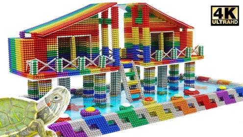 趣味手工制作:磁力珠做水族箱房屋