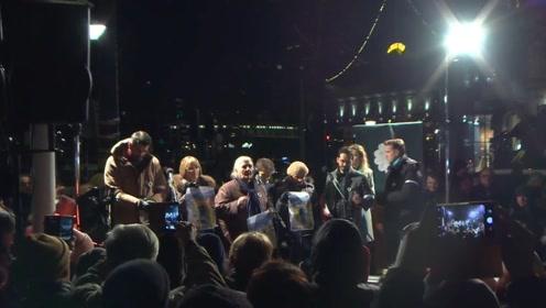 斯德哥尔摩数百人集会 抗议2019年诺贝尔文学奖的获得者