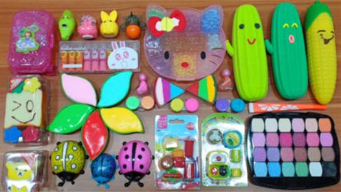 DIY史莱姆教程,彩虹树叶泥混合凯蒂猫雪花泥、迷你化妆品