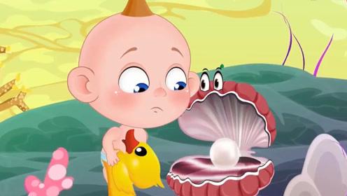 小男孩变成了大章鱼,掰开大河蚌的嘴,把他的大珍珠拿走!