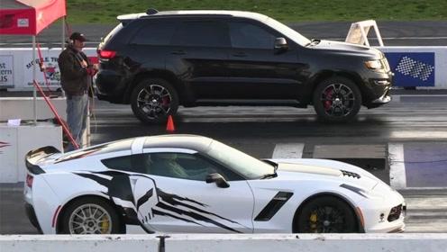 号称最快SUV的大切诺基SRT,遇到五菱超跑后,彻底露馅了!