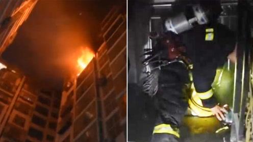 致敬!四川一居民楼起火48人被困 消防员救人后缺氧昏迷