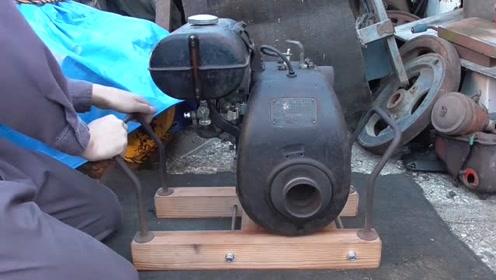拉绳启动70年前的日产柴油机,引擎声音听着真带劲