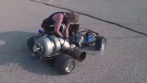 小伙脑洞大开在卡丁车装上小涡轮发动机,试玩一下,效果真好!