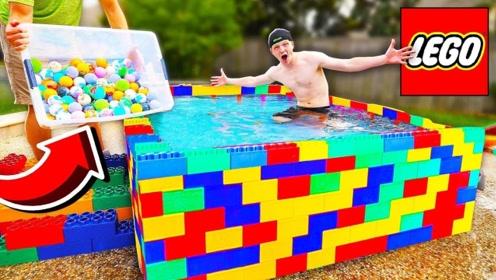 用乐高积木堆一个泳池,再倒100个沐浴炸弹!泳池会不会被崩裂?