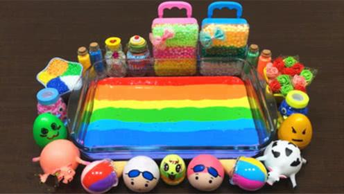 DIY史莱姆教程,彩色气球泥混合压力球、胡萝卜泥