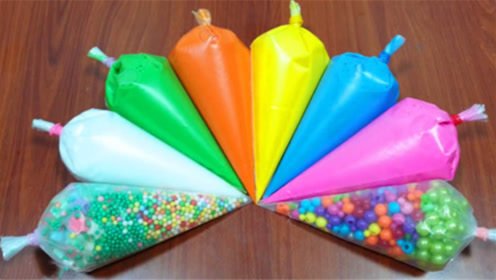 DIY史莱姆教程,裱花袋水晶泥+彩虹珍珠豆,多种无硼砂原料混搭