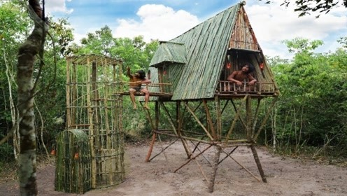 野人兄弟用竹子做的高脚楼,全身没有一颗钉子,一般人还进不去!