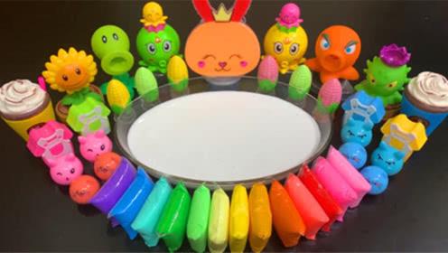 DIY史莱姆教程,彩虹黏土+玉米彩泥+婴儿油+多种饰品,好玩好看