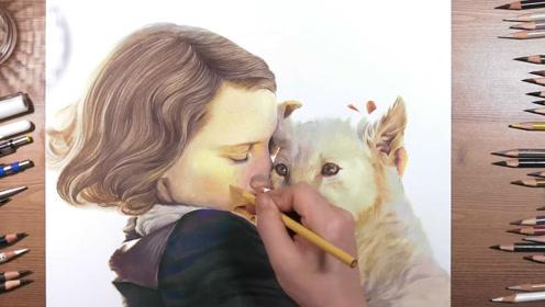 彩色铅笔画电影《动物园长的夫人》