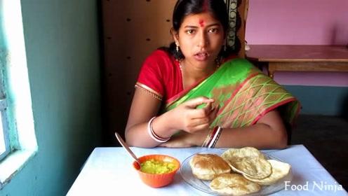 印度姑娘的日常,早上直播吃早餐,饭后带儿子逛庙会