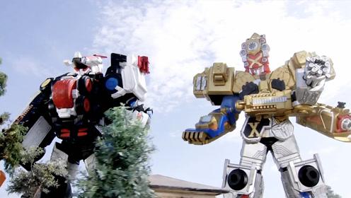 警察战队巡逻凯撒骑士与X帝皇机器人合力而战,消灭了巨大的怪兽