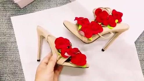 玫瑰花瓣高跟鞋,这样的设计别出心裁