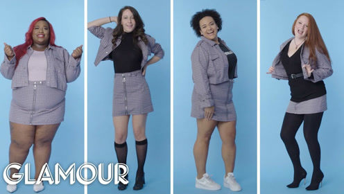 0-28码的女士试穿同一款时装