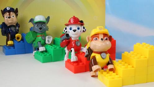 儿童玩具汪汪队狗狗PK搭建楼梯学习颜色