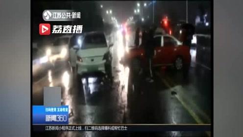 出租车急于抢单,双黄线掉头引发三车连撞 交警:的哥全责
