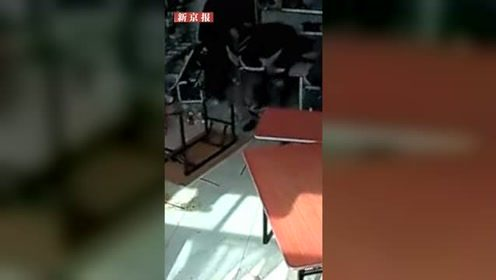 大黑牛失控冲进店铺,人被撞翻吓得大叫