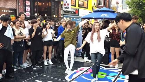 人气组合KHAN弘大街头表演,两个小姐姐都超喜欢!